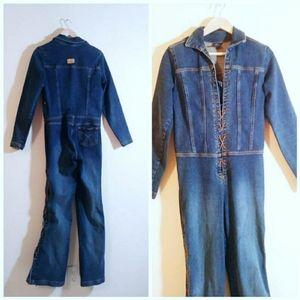 Vintage 70s inspo 90s y2k denim lace up jumpsuit
